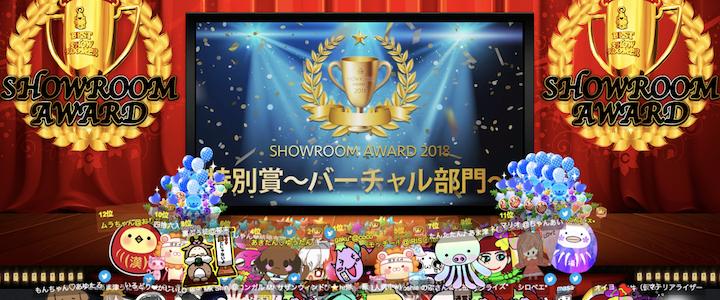 SHOWROOMアワード2018特別賞バーチャル部門